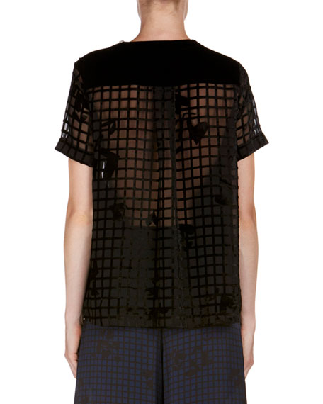 Burnout Heart Grid Top