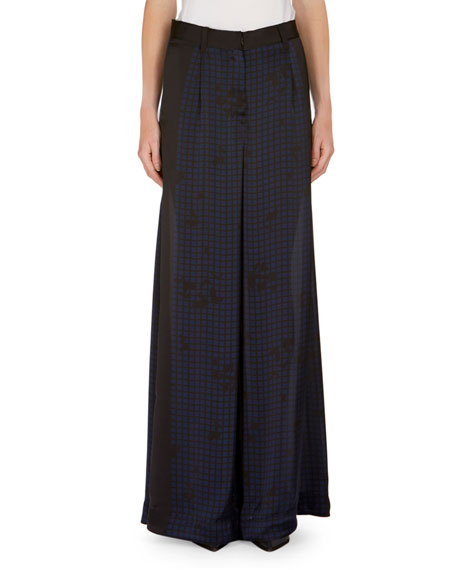 Checked & Heart-Print Wide-Leg Pants, Black