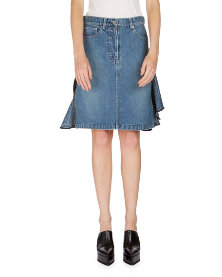 Ruffle-Side Denim Skirt