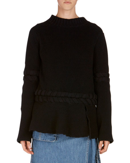 Knit Ruffle-Hem Sweater