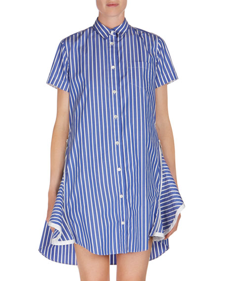 ad3ffd960 SACAI Short-Sleeve Striped Poplin Shirtdress