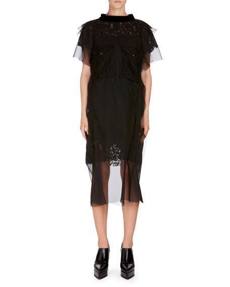 Lace Chiffon Short-Sleeve Dress
