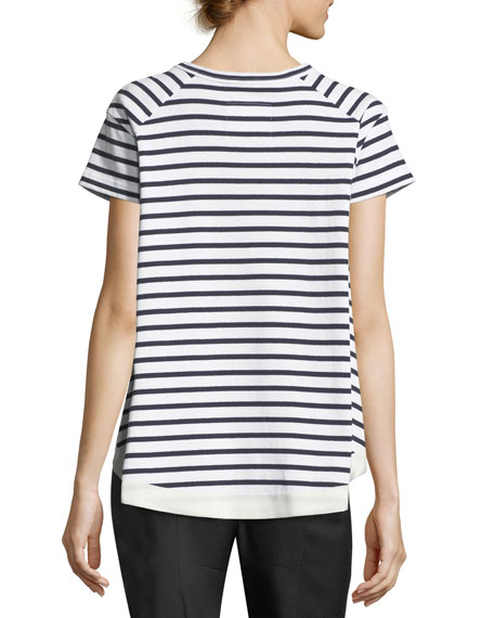 Lace-Up Striped T-Shirt
