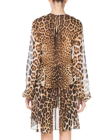 Tiered Leopard-Print Silk Dress