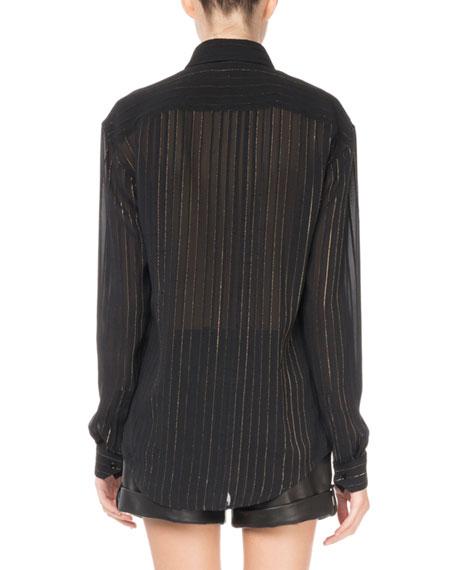 Metallic-Striped Blouse