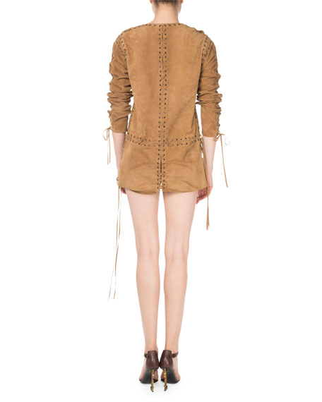 Lace-Up Long-Sleeve Suede Dress