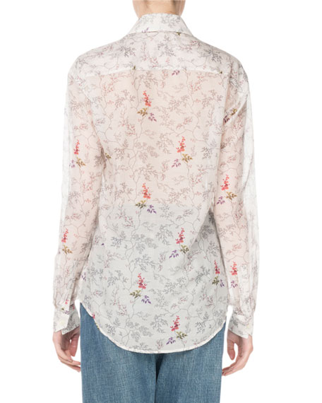Ruffled Floral-Print Voile Blouse