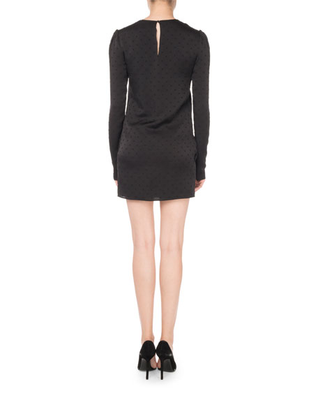 Swiss Dot Long-Sleeve Shift Dress