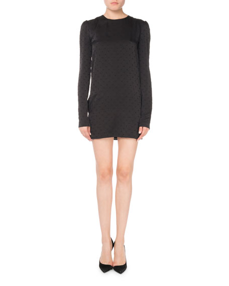 Swiss Dot Long-Sleeve Shift Dress