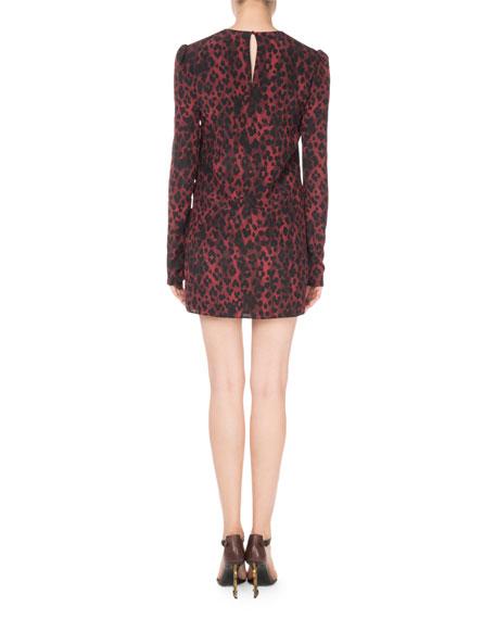 Leopard-Print Silk Shift Dress