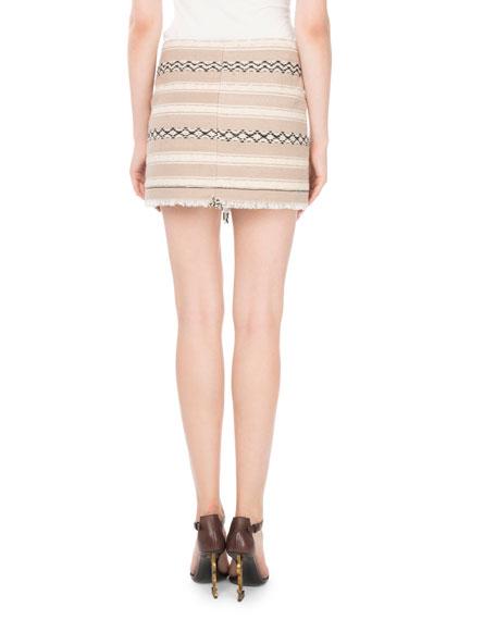 Ikat-Printed Wool Wrap Skirt