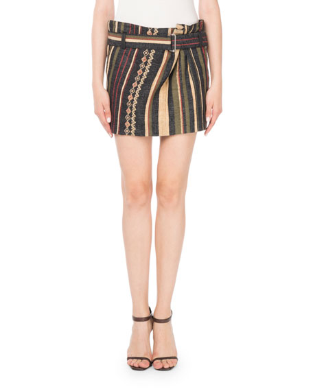 Ikat Striped Mini Skirt