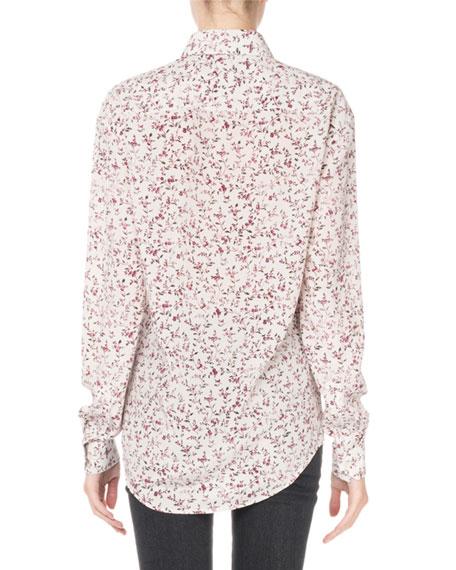 Floral-Print Button-Down Blouse