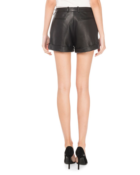 Cuffed Lamb Leather Shorts