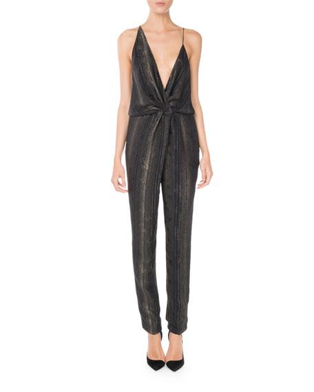 Sleeveless Plunging Twist-Front Straight-Leg Metallic Silk Jumpsuit