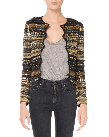 Embroidered Scallop-Front Jacket
