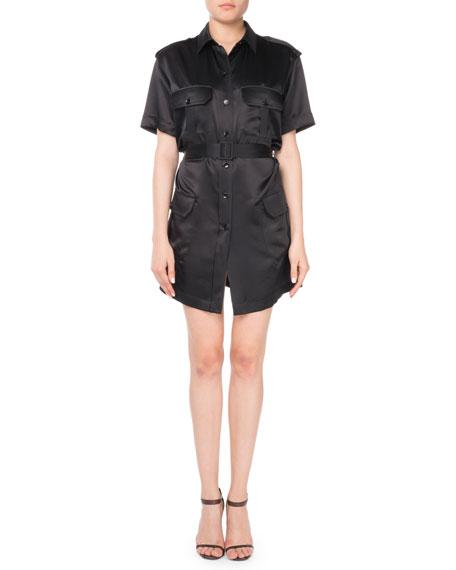 Short-Sleeve Silk Cargo Dress