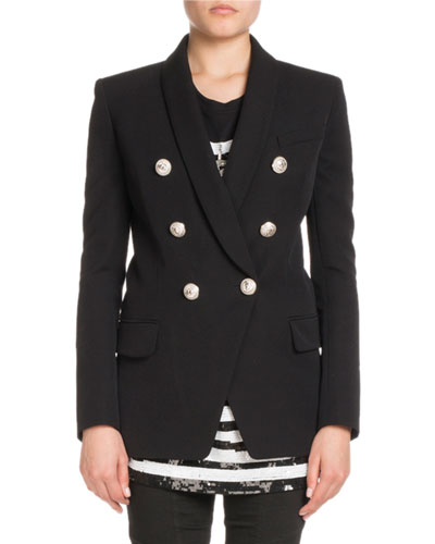 Shawl-Collar Six-Button Long Wool Jacket
