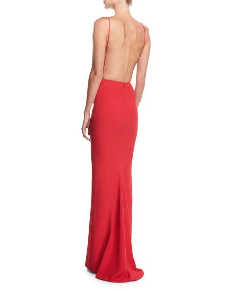 Backless Rib-Trim Column Gown