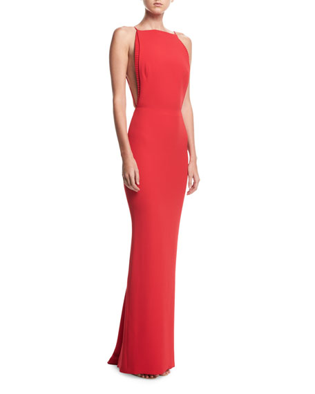 Backless Rib-Trim Column Gown