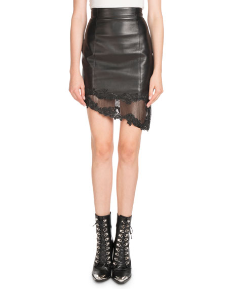 High-Waist Asymmetric Stretch-Leather Skirt w/ Lace Hem