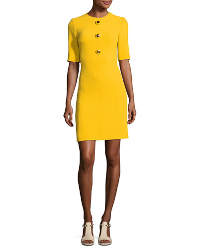 Crewneck Half-Sleeve Shift Dress