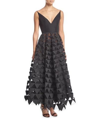 V-Neck Geometric Tulle Gown
