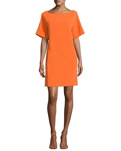 Short-Sleeve Tie-Back Shift Dress