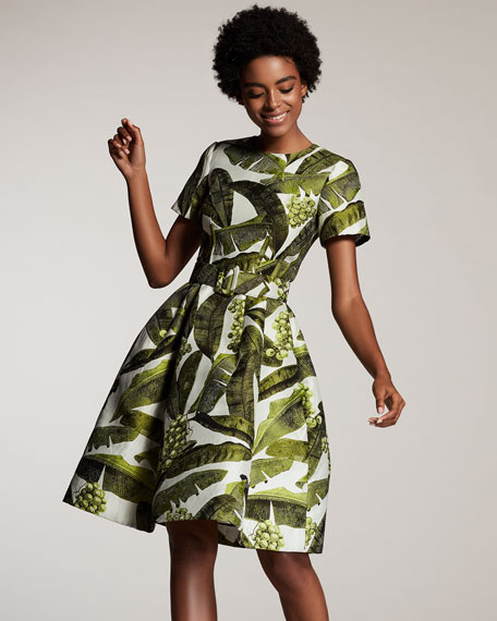 Palm-Print Short-Sleeve Dress