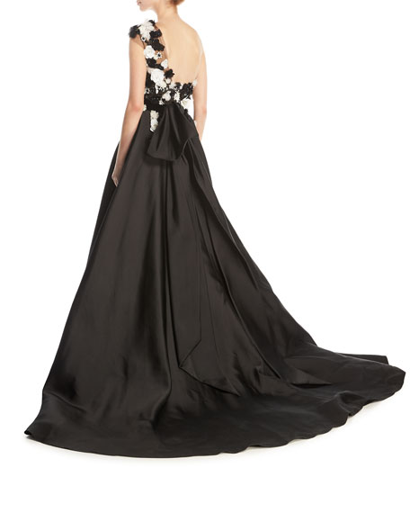 Floral-Embellished One-Shoulder Faille Ball Gown