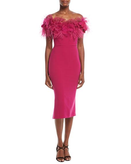 b0e845a5e5 Marchesa Crepe Cocktail Dress w/ Feather Neckline