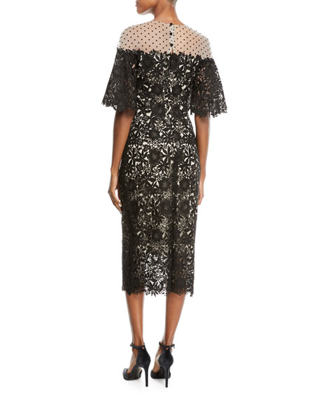 Half-Sleeve Lace Midi Cocktail Dress