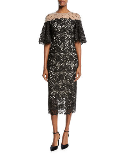 Half-Sleeve Lace Midi Cocktail Dress
