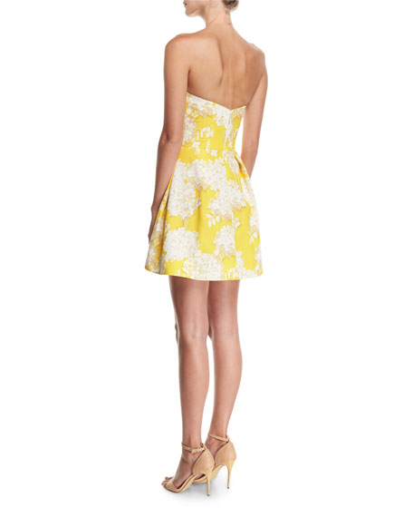 Strapless Hydrangea-Print Cocktail Dress