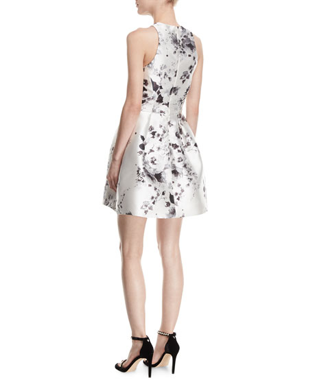 Floral-Print Satin Racerback Dress