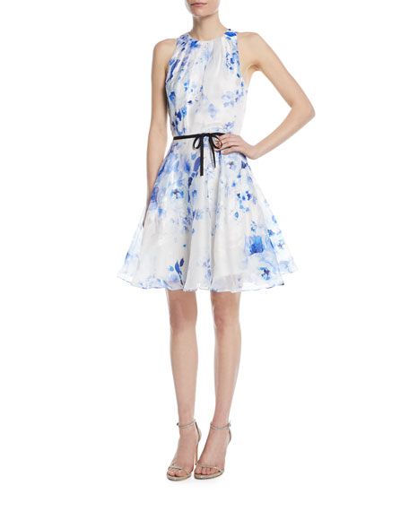 Sleeveless Floral Taffeta Dress