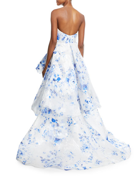 Strapless Floral Ruffle-Front Gown