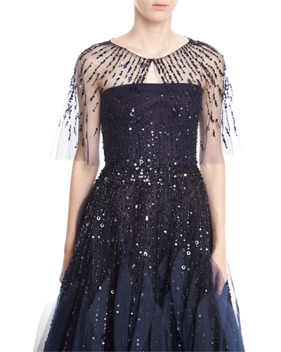 Embroidered Tulle Capelet