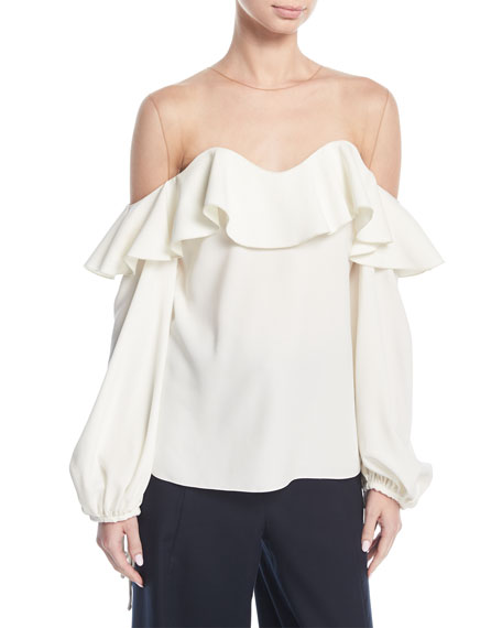 Bell-Sleeve Illusion Crepe Top