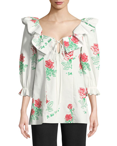 Say it with Flowers Ruffled Blouse