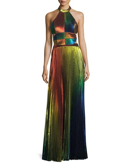 Rainbow Pleated Metallic Halter Gown