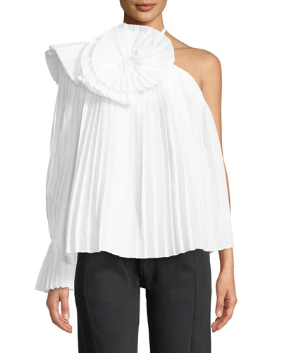 One-Shoulder Escargot Pleated Blouse