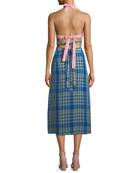Colorblock Plaid Halter Midi Dress