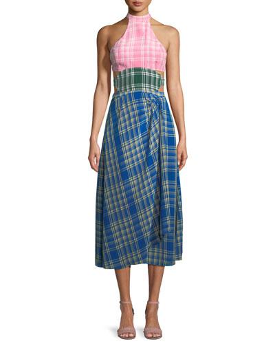 Colorblock Plaid Halter Midi Dress