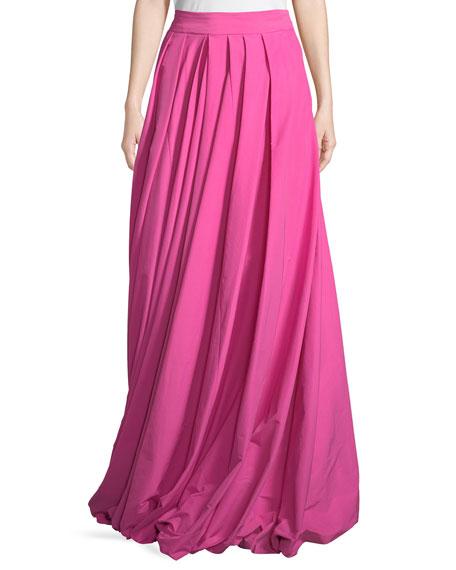 Pleated Poplin High-Waist Maxi Skirt