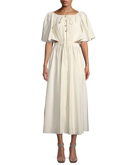 Gathered Midi Dress w/Side Cutout