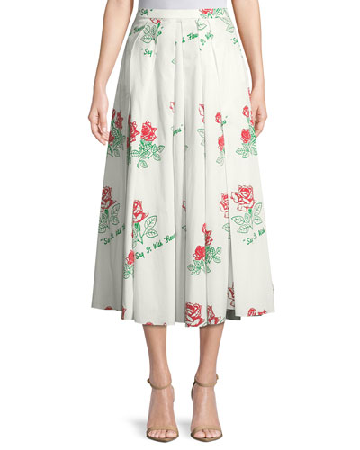 Say it with Flowers Poplin Skirt