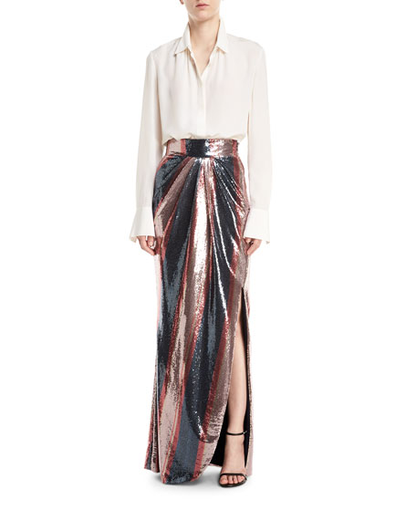 Opal Sequin-Striped Maxi Skirt
