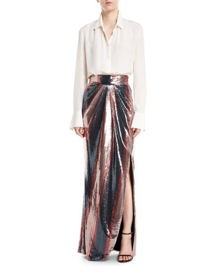 Opal Sequin-Striped Maxi Skirt
