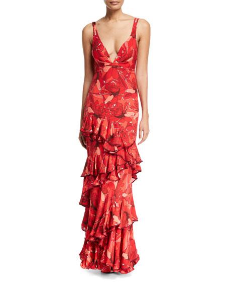 Crimson Floral-Print Maxi Dress